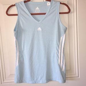 Adidas baby blue striped tank top